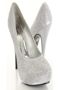 Silver Studded Decor Pointy Closed Toe Heels