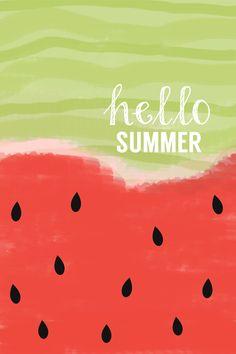 watercolor summer print | hello summer | watermelon | iPhone wallpaper #summer
