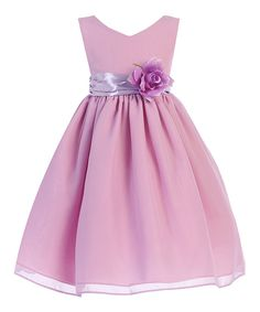Take a look at this Ellie Kids Lavender Flower Sash A-Line Dress - Toddler & Girls today!