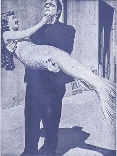 "Ann Blythe (filming ""Mr. Peabody & the Mermaid"") gets carried away by Glenn Strange as the Monster 1947"