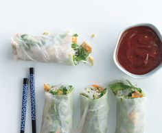 Summer Rolls with Baked Tofu and Sweet-and-Savory Dipping Sauce Recipe on Yummly. Lunch Box Recipes, Tofu Recipes, Sauce Recipes, Vegetarian Recipes, Healthy Recipes, Noodle Recipes, Summer Rolls, Spring Rolls, Healthy Vegan Snacks