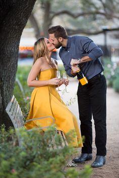Park champagne engagement shoot - Houston wedding photography - MD Turner Photography
