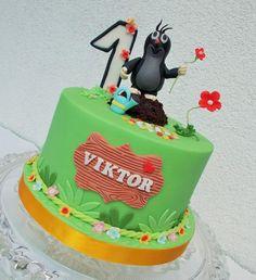 Mole (Krteček) - Cake by Hana Součková Character Cakes, Mole, Celebration Cakes, Hana, Christening, Cake Ideas, Woodland, Birthday Cake, Baby Shower