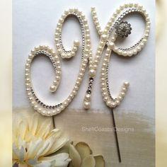Pearl Cake Topper Monogram Cake Topper Wedding Cake Topper