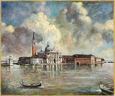 Giorgio De Chirico (Italian, 1888 - 1978)  Venice, San Giorgio Island (Venezia, Isola di San Giorgio), late 40th  Oil on canvas 93 notes