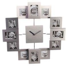 Reloj de Pared de Aluminio con 12 Marcos.Con un tamaño de 35 cm de diámetro, este reloj de pared de aluminio hará la vez de reloj y de cómodo y práctico porta retratos múltiple. Cuenta con 8 marcos para fotos de 5 x 5 cm. y 4 marcos para instantáneas de 7 x 5 cm. Si quieres hacer un regalo especial este es tu regalo perfecto.
