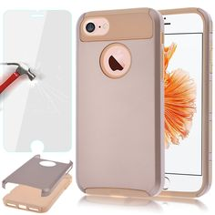 iPhone 7 Case, AUU iPhone 7 (4.7 INCH) Bumper Case Shock Absorbing Hard Hybrid Slim Thin Cute Cover [Scratch Proof] Plastic Shell TPU Rubber Inner Gold/Gold+ Tempered Glass Screen protector. ***Only for iPhone 7. A locking swivel belt clip is easily locked into an extended position and provides different viewing angles while watching movies or video calls, also rotatable 180 degrees.Precise cut openings allow full access to all the functions and all buttons of your phone. The Armor hybrid...