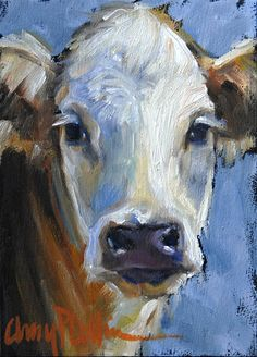 """Abigail"" - oil painting by Amy P. Collins #cows #field #painting #nature #outdoors #animals #family"
