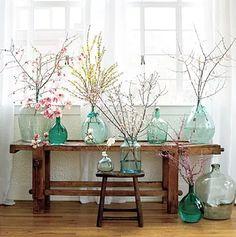 桜の枝アレンジメント北欧お部屋