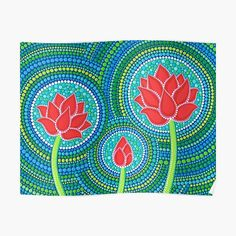 Dot Art Painting, Stone Painting, Elspeth Mclean, 3 Arts, Canvas Prints, Art Prints, Vibrant Colors, Handmade, Lotus Flower