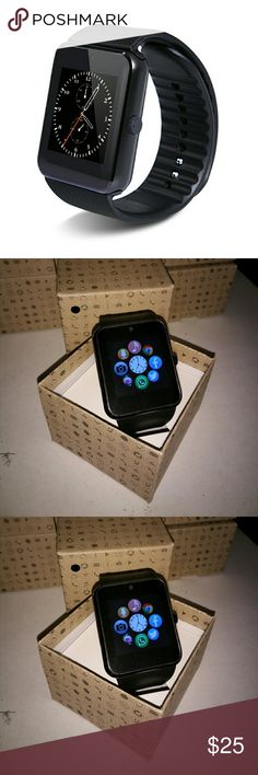New Black Smart Watch SHIPS NEXT DAY! FREE SHIP!   UNLOCKED SMART WATCH FOR ALL GSM CARRIERS. Any Carrier Unlocked for: Verizon,Sprint, T-mobile, Boots Mobile, MetroPCs etc.   100% Brand New Smart Watch  Compatible with both iOS & Android.  You can put a sim card in or sync via Bluetooth   Uses: Bluetooth Dialer, Pedometer, Sleep monitor, Sedentary Reminder, Music Player, Alarm Clock, Watch,Camera, Remote camera, Bluetooth SMS/IM Message Notifier, Message Reminder, Call Reminder, Answer…