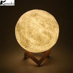 Magical Moon LED Night Light Moonlight Desk Lamp USB Rechargeable 3 Light Colors Stepless for Home Decoration Desk Lamp, Table Lamp, Large Lamps, Cool Lamps, Unique Lamps, Bright Homes, Led Night Light, Night Lights, 3d Prints