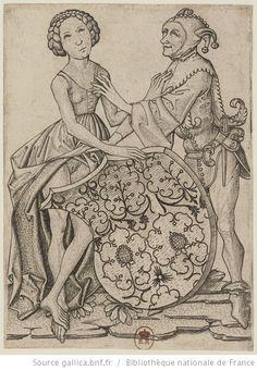 [Le Fou et la femme à l'écusson] : [estampe] / [Maître E. S.] Auteur : Maître E.S. (1420?-1468?). Graveur Date d'édition : 1450-1470 http://gallica.bnf.fr/ark:/12148/btv1b105056683/f1.highres