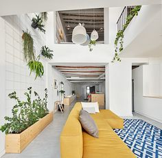 open living space with yellow sofa in a modern home in a Gothic building in Catalonia