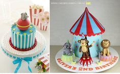 circus cakes by BakingArts on Flickr left and Cakes by Lorinda right