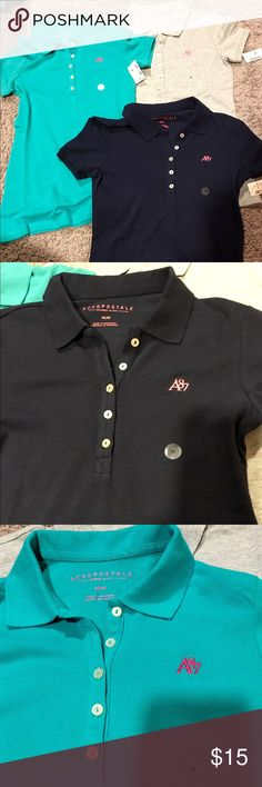 NEW w/ tags- 3 Aeropostale polo shirts Brand new with tags- never worn Aeropostale polo shirts. All are mediums- but fit like smaller mediums.. They are navy blue, teal, and grey. Tags say $24.50 willing to sell for $7 each or $20 for all 3! Aeropostale Tops Tees - Short Sleeve
