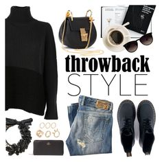 """""""#throwback"""" by italist ❤ liked on Polyvore featuring Dr. Martens, Zanone, Chloé, Diesel, Ray-Ban and Coach"""