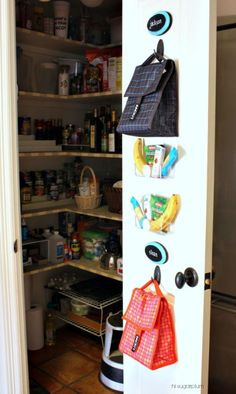 A pantry door is a great place to hang them as a reminder.