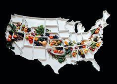 This United States map is made out of porcelain and doubles as serving dishes.