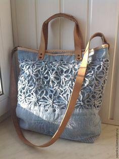 """Купить Сумка """"Джинса-romantic"""" - однотонный, сумка ручной работы, джинсовый стиль, джинсовая сумка"""