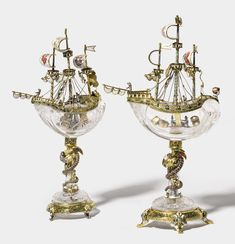 Two carved rock crystal nefs with jewelled and enameled silver-gilt mounts, Hermann Ratzersdorfer, Vienna. Late 19th century | sotheby's