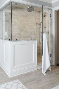 I love the wainscoting surround on this shower.