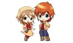 chibi Lillian and Phillip, the default names of the farmers you play in HM Tales of Two Towns