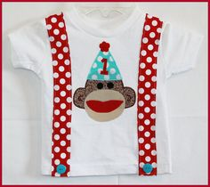 Super Cute Sock Monkey Birthday Suspenders by LilBitofWhimsyCoutur, $19.00