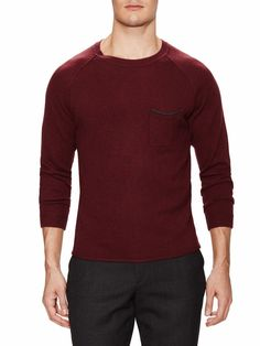 Bespoken Phillip Raglan New Pullover Burgundy Men's Wool Sweater Medium NWT $225…