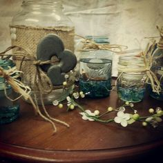 Mason jar candle votives and flower holders..perfect for outdoor country wedding shower
