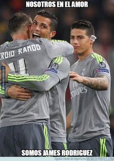 """ Cristiano Ronaldo with Sergio Ramos celebrates after scoring the opening goal during the UEFA Champions League round of 16 first leg match between AS Roma and Real Madrid CF at Stadio Olimpico on. World Best Football Player, Real Madrid Football Club, Real Madrid Soccer, Football Players, James Rodriguez, Cristiano Ronaldo Quotes, Messi Gif, Soccer Stars, Uefa Champions League"