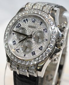 Rolex Daytona Mens -18k White Gold- 8Ct.- 300 Diamonds - Pave Diamond Dial Click to find out more -  http://menswomenswatches.com/rolex-daytona-mens-18k-white-gold-8ct-300-diamonds-pave-diamond-dial/