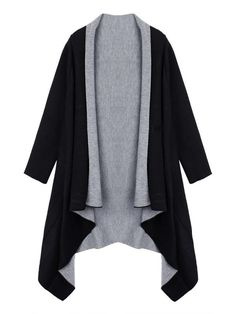 Ruffles Asymmetrical Casual Loose Solid Long Sleeve Lapel Knit Cardigan - Gchoic.com