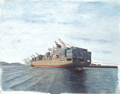 "The container ship ""Penang Senator"" leaving Port of Oakland, California in 2005. Medium: acrylic on 12"" x 18"" watercolor paper."