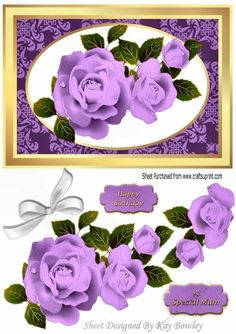 Pretty purple roses with white bow A5, Makes a pretty card, for birthday , mothers day, anniversary, or just for love, can be seen in other colours