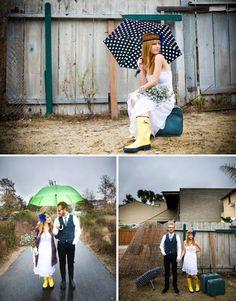 Parapluies de couleur pour un mariage bohème