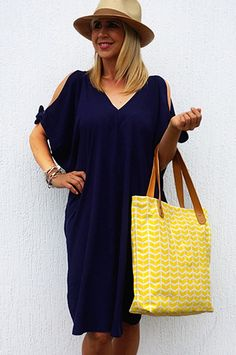 Navy Cold Shoulder Kaftan Dress - The Plus Side - Clothing