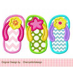Summer flip flops 02 digital applique 4x4 von CherryStitchDesign, $2.99