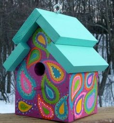 Outdoor Birdhouse Crazy for Paisley Retro Colorful Original