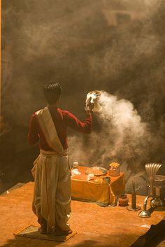 Night puja by the Ganges, Varanasi