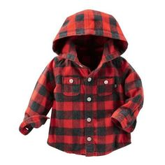 Hooded Flannel Shirt ❤ liked on Polyvore featuring baby and baby clothes