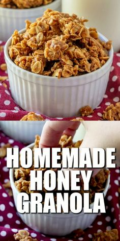 Homemade Honey Granola is made with oats nuts cinnamon nutmeg real butter and fresh honey. Add fruit for a delicious nutritions snack! Healthy Foods To Eat, Health And Nutrition, Healthy Snacks, Health Facts, Brunch, Cooking Recipes, Favorite Recipes, Yummy Food, Healthy Breakfasts