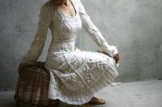 Off-white hand knit dress wedding dress custom order от Muza Fall Collection, Knit Fashion, Ethnic Fashion, Kenzo, Knit Dress, Hand Knitting, Knitting Patterns, Marie, Knitwear