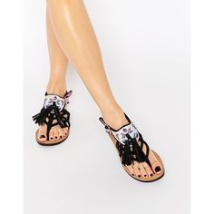Bronx Tassel Leather Flat Sandals (58 CAD) ❤ liked on Polyvore featuring shoes, sandals, black leather, black flat sandals, black flat shoes, tassel sandals, black leather sandals and real leather shoes