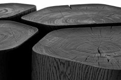 Beautiful black table by Normal Studio: the Basalt table Black Coffee Tables, Rustic Coffee Tables, Black Table, Coffe Table, Wood Furniture, Furniture Design, Mismatched Furniture, Plywood Table, Architecture Design