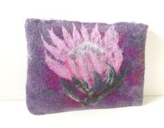 Clutchbag in Purple Grey & Pink with Pink Kings by LaVieBoeretroos, $35.00