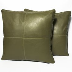 Sage Four-panel Faux Leather 16-inch Accent Pillow (Set of 2) (Set of 2), Green, Size 16 x 16 (Polyester, Solid Color)