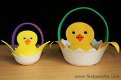 Free Kids Easter paper crafts   Charming Chick Easter Basket   AllFreeKidsCrafts.com