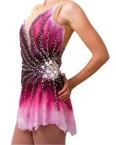 4023b13a Figure Skating Dress - Hand Ombre Dyed in any colors, for Baton Twirling,  Dance, and Roller Skating Competition. Swarovski Crystals, Pellosa