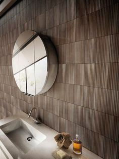 Color Tile, Industrial Wall, Hallway Console, Corrugated Metal, Round Mirror Bathroom, Bathroom Redo, Wall Tiles, Industrial, Bathroom Mirror